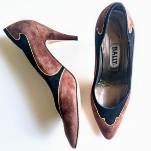 Bally Suede Brown Black Heels 8 Retro Vintage Look